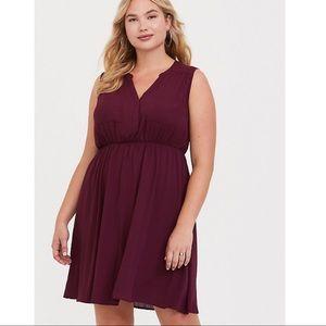 Torrid burgundy Harper sleeveless mini shirt dress